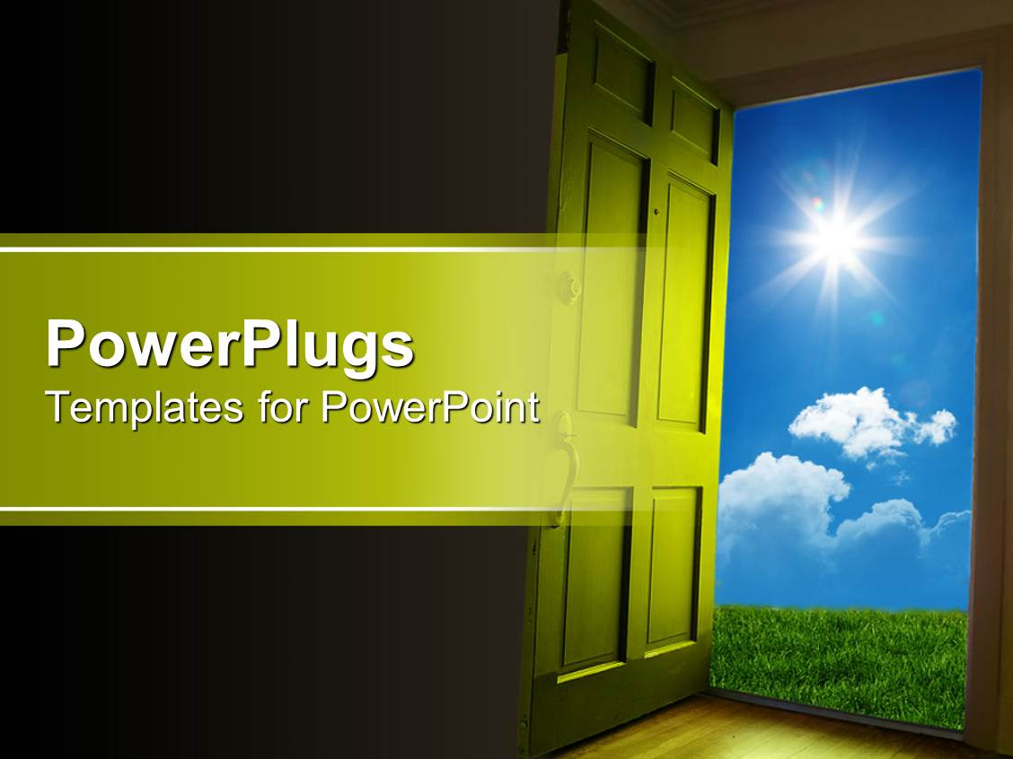 PowerPoint Template: green door opening to green grass and blue ...
