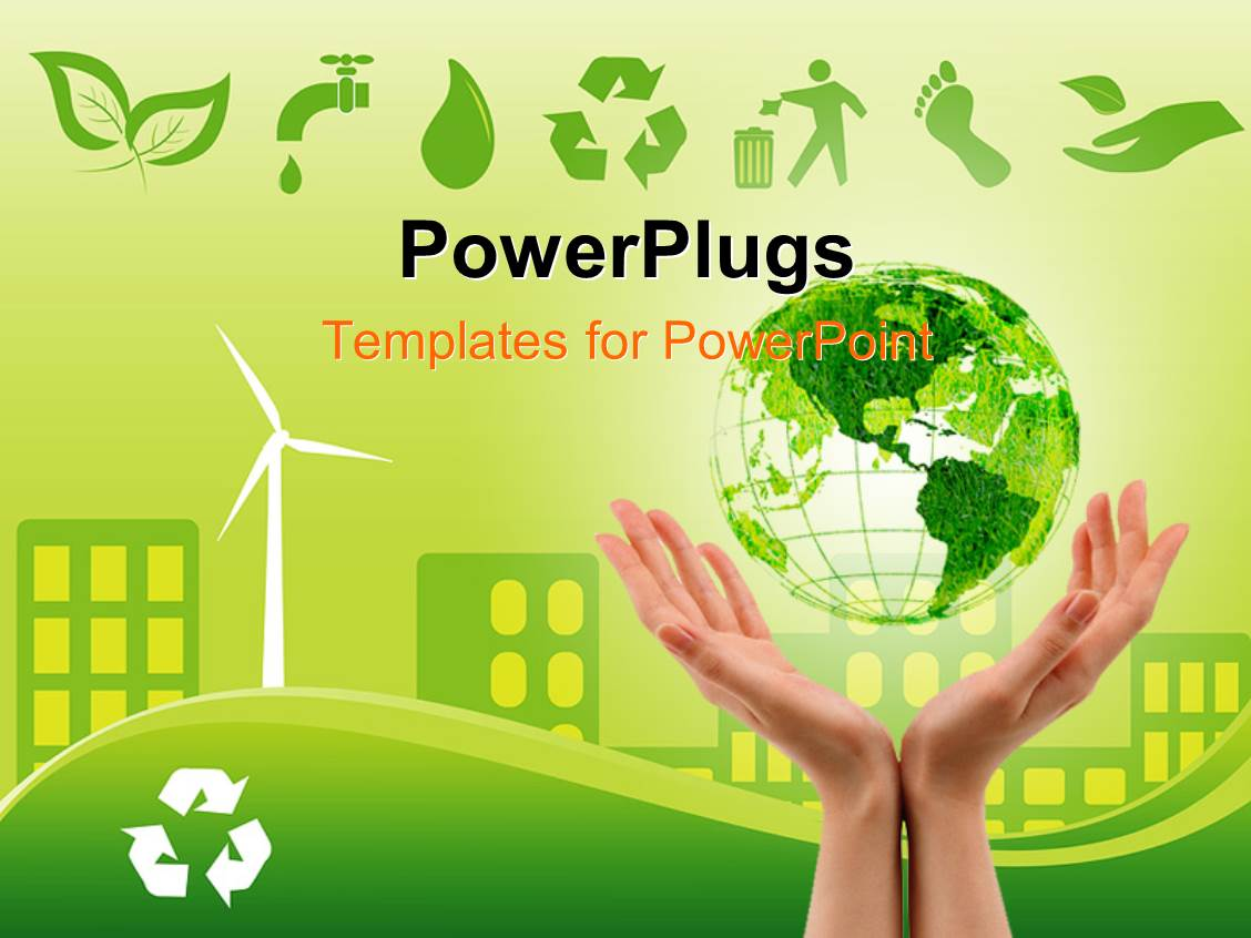powerpoint template: green environmentally conscious city view, Presentation templates