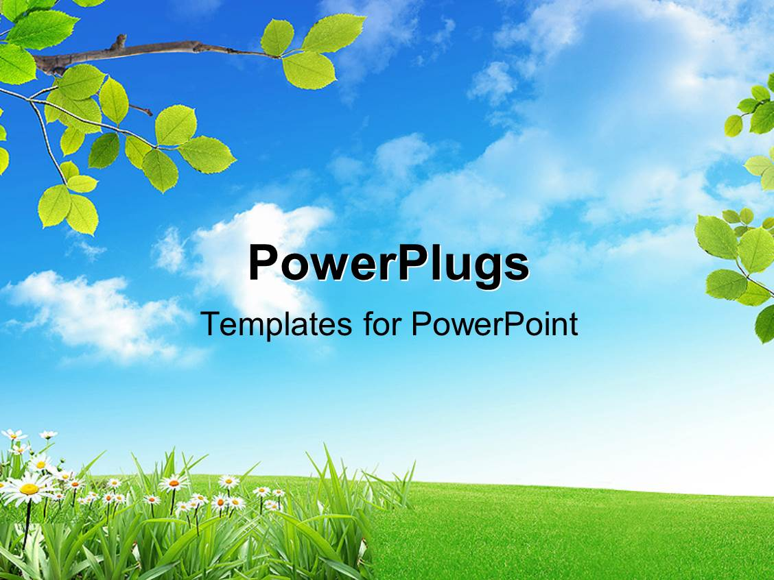 powerpoint template  a green field with a lot of flowers