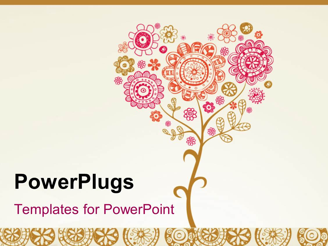 powerpoint template: greeting card with floral design for wedding, Powerpoint templates