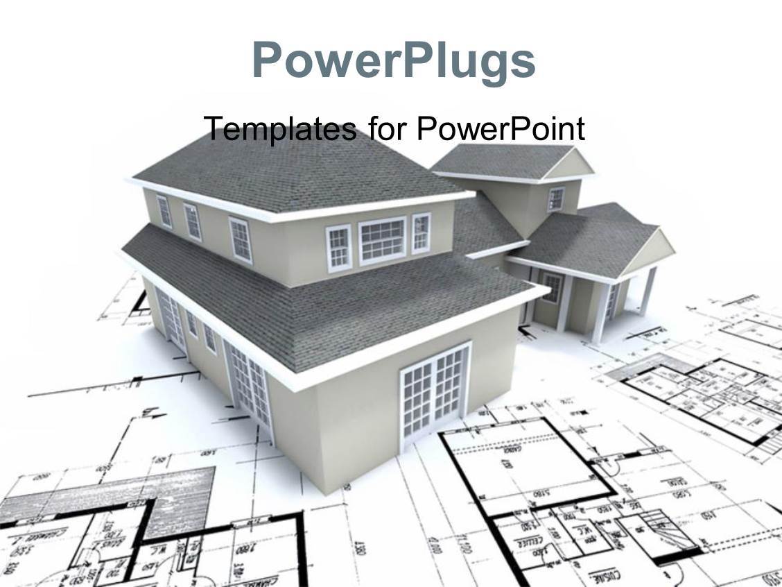 Architect powerpoint templates crystalgraphics slide deck with grey building over architectural blueprint and plan toneelgroepblik Image collections