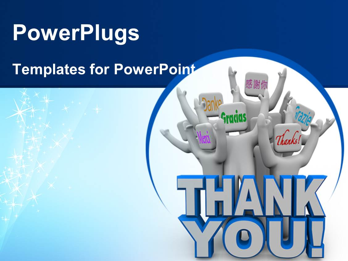 powerpoint template: a group of figures with the word thank you (6774), Modern powerpoint