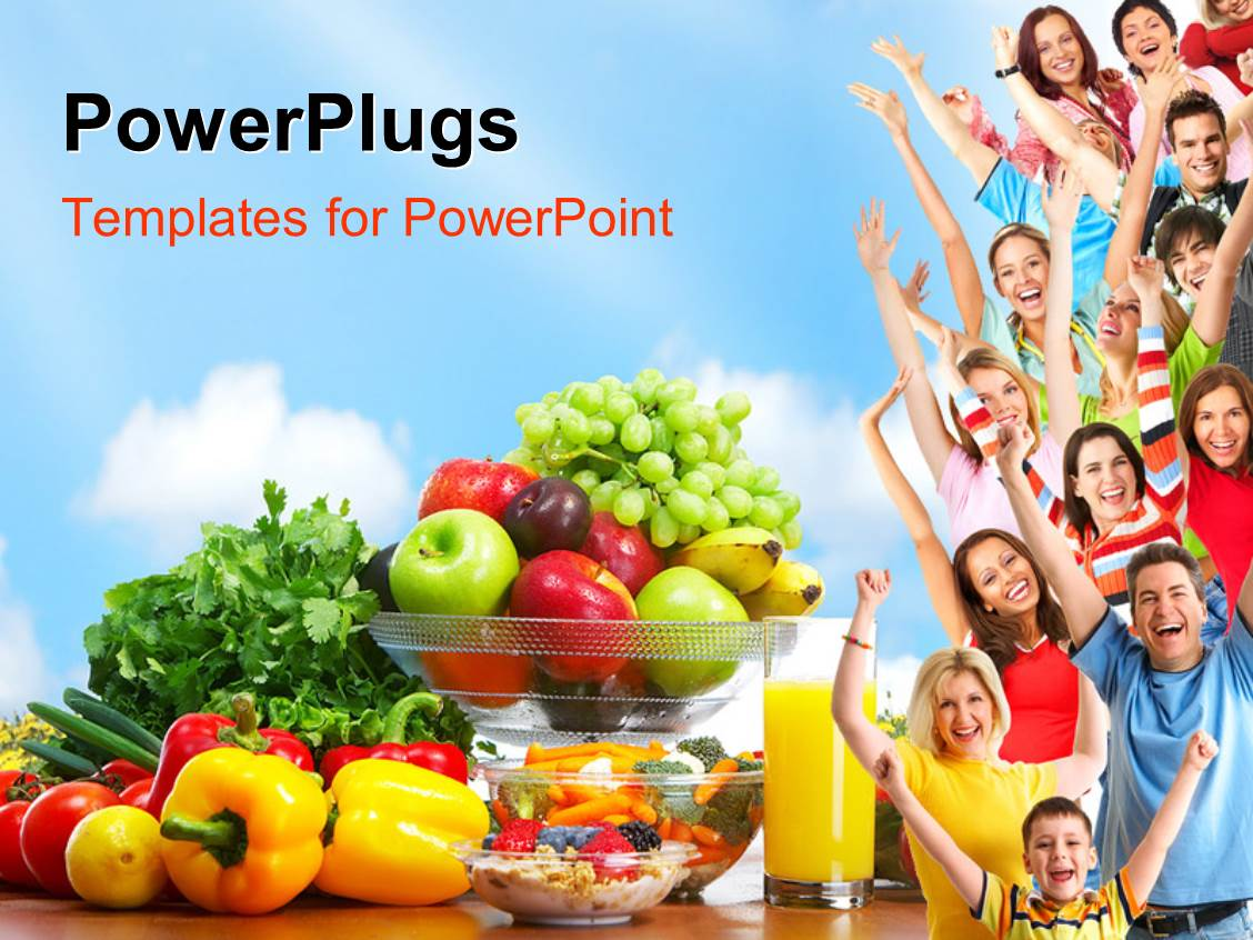 Powerpoint template group of people with fresh fruits and powerpoint template displaying group of people with fresh fruits and vegetables depicting healthy lifestyle toneelgroepblik Choice Image