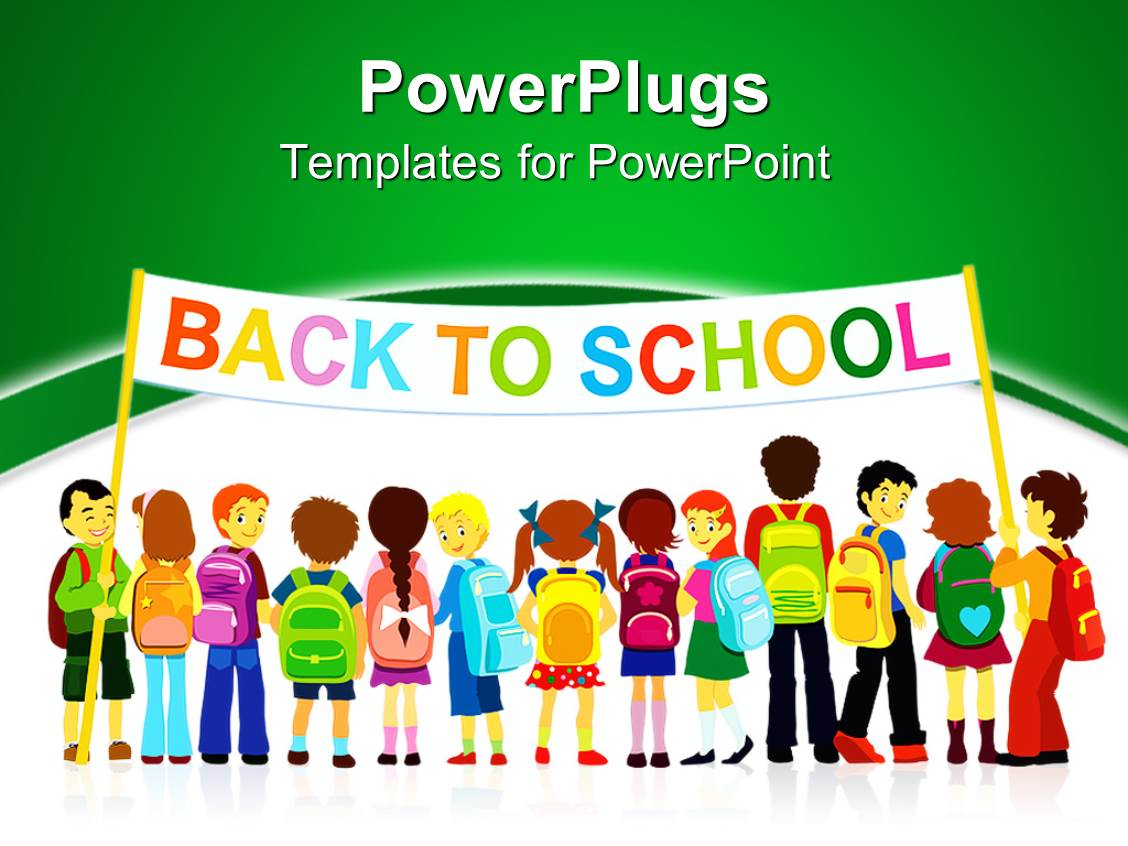 powerpoint template group of pupils holding a large