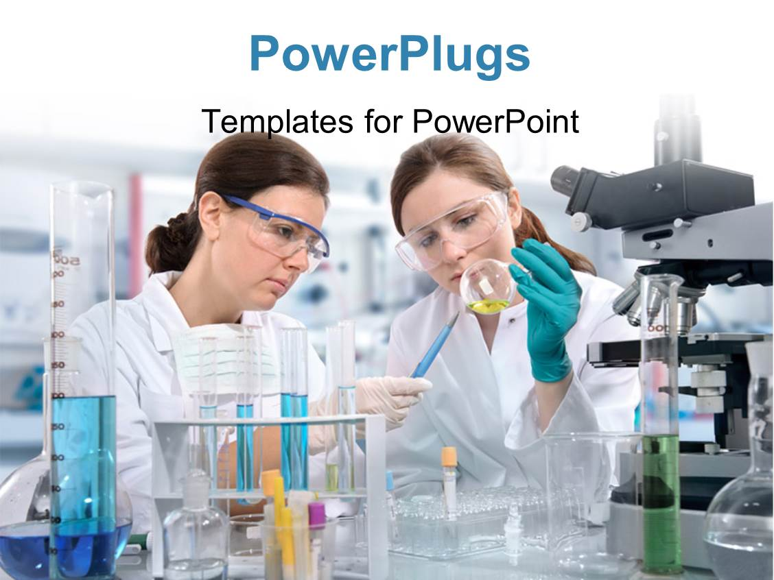 Laboratory powerpoint templates crystalgraphics audience pleasing presentation theme featuring group of scientists wearing specks and performing experiments using chemicals in template size audience toneelgroepblik Image collections
