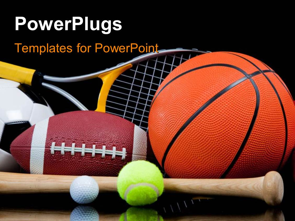 powerpoint template group of sports equipment on black background including tennis basketball. Black Bedroom Furniture Sets. Home Design Ideas