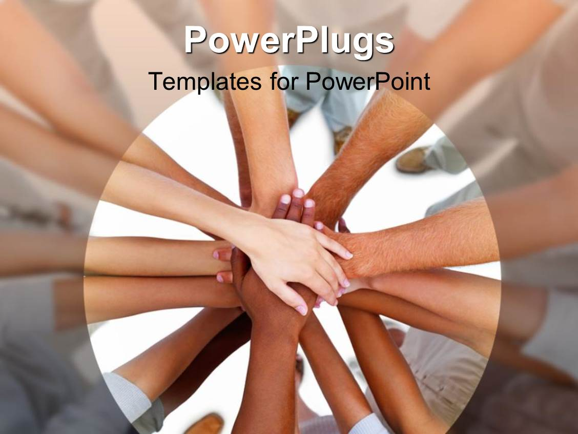Powerpoint Template Group Work Hands Connected Together