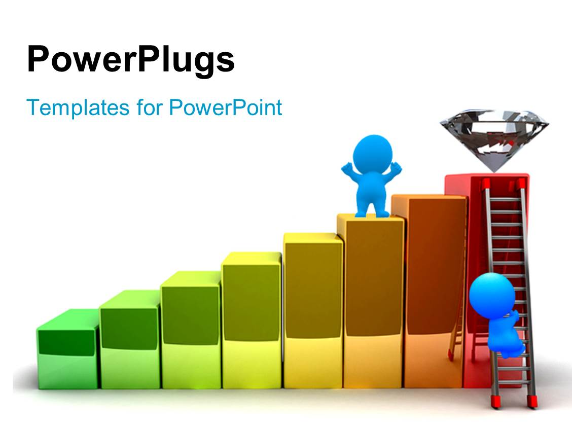 Powerpoint template a growth graph with a diamond at top for Power plugs powerpoint templates