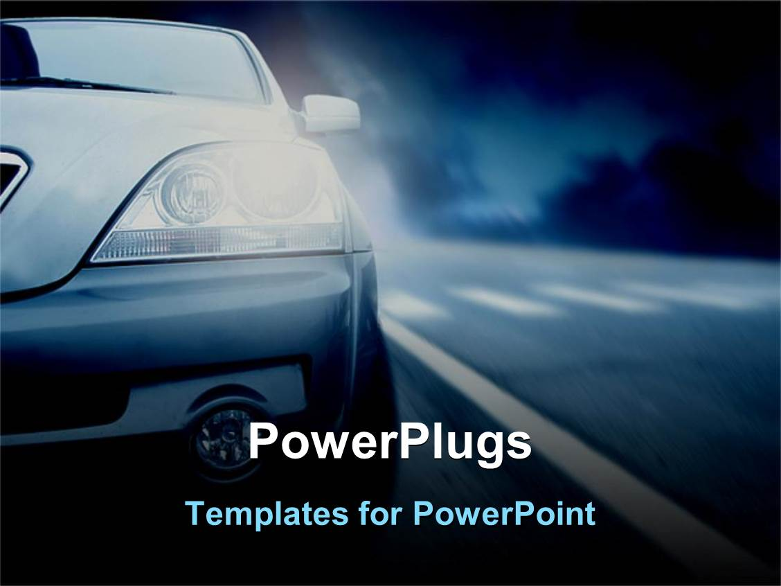 powerpoint template half of car with headlights on