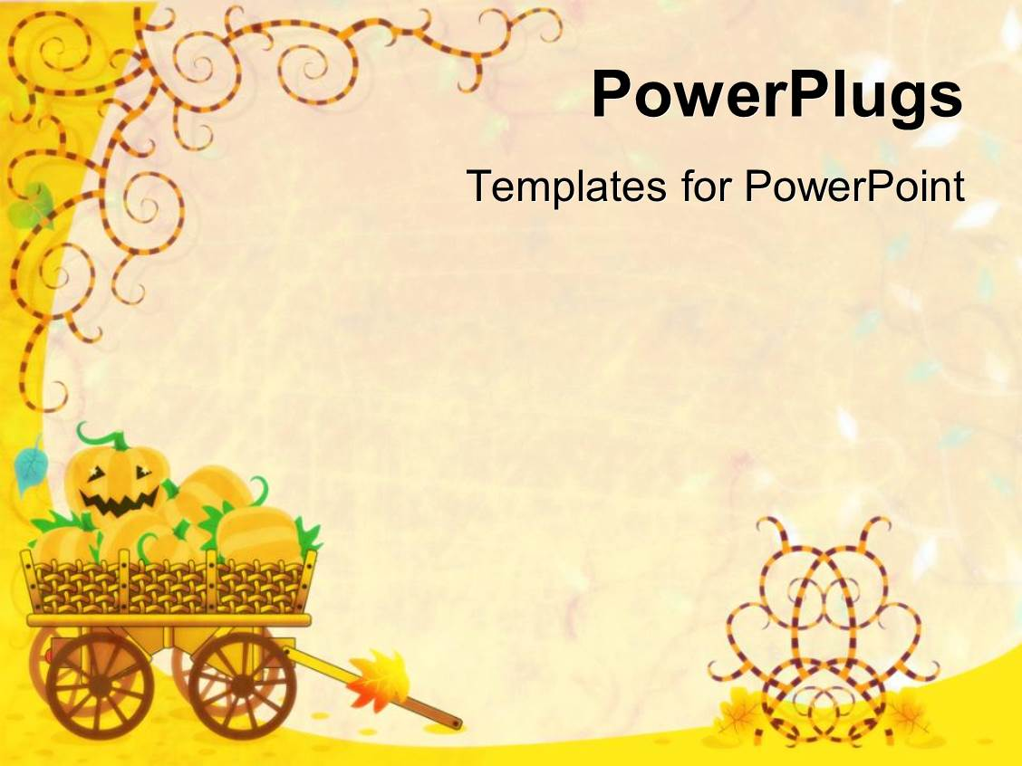 powerpoint template: halloween background with a pumpkin smiling, Modern powerpoint