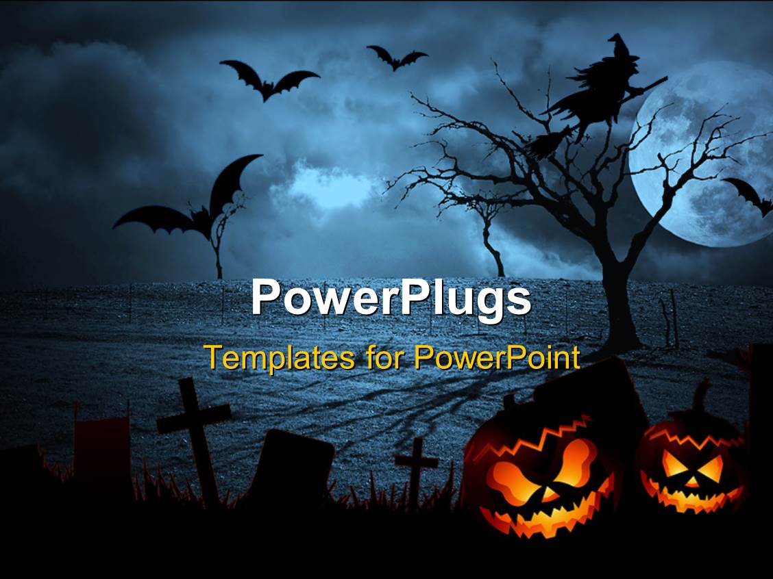 PowerPoint Template: Depiction of Halloween with bats in sky and ...