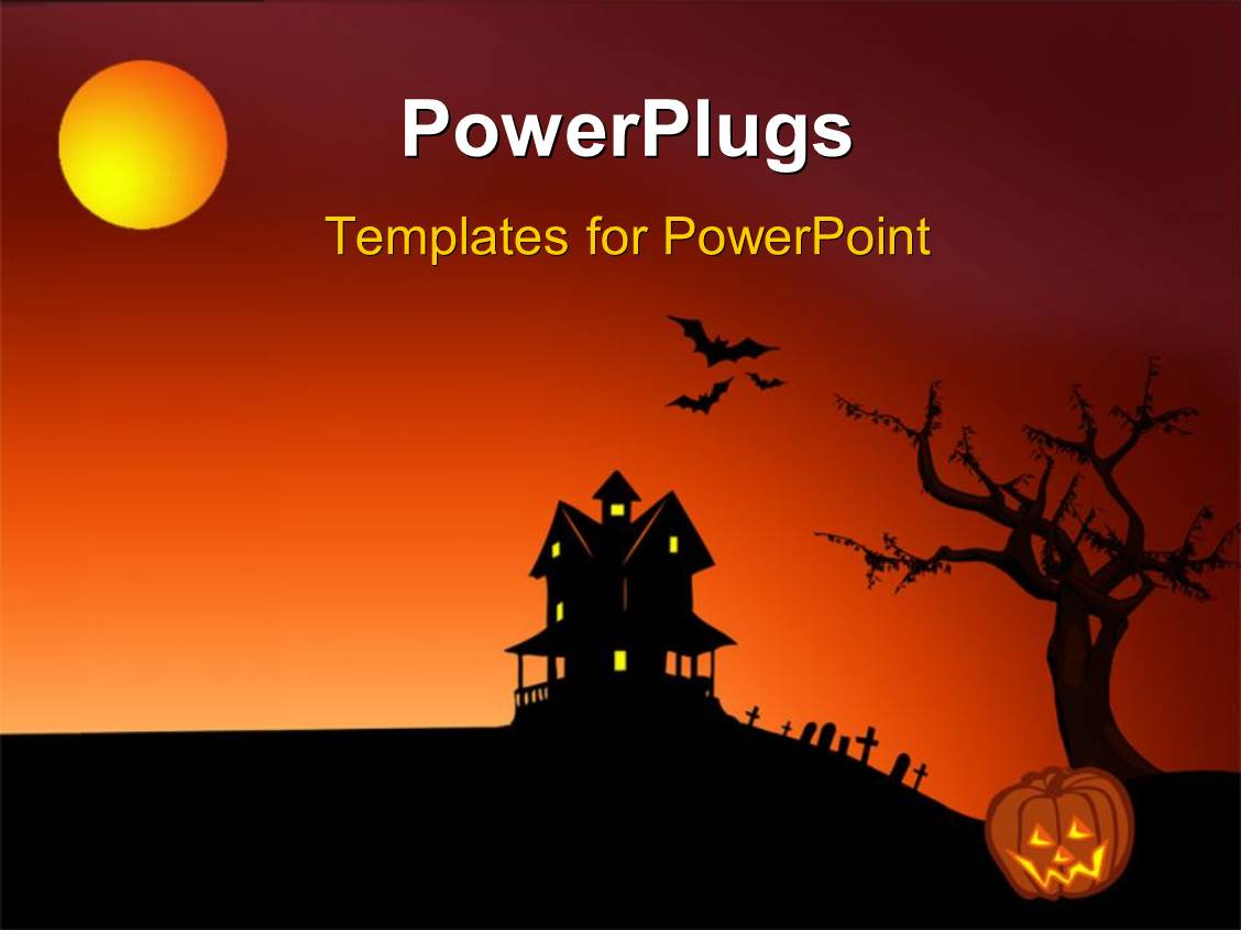 powerpoint template: halloween depictions with haunted house bats, Modern powerpoint