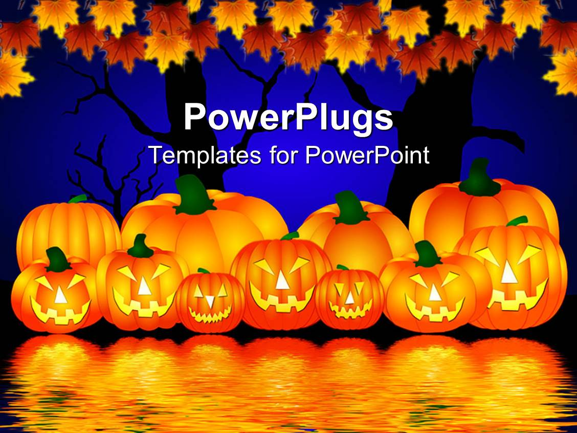 powerpoint template halloween theme with pumpkins reflecting in water and trees with rusty. Black Bedroom Furniture Sets. Home Design Ideas