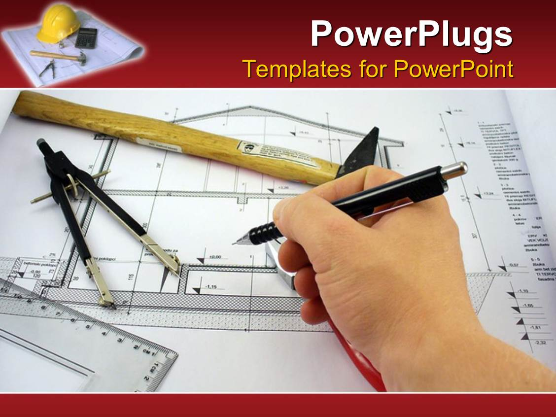 Powerpoint template hand completing an architect design for a powerpoint template displaying hand completing an architect design for a house blueprint with architects tools on toneelgroepblik Images