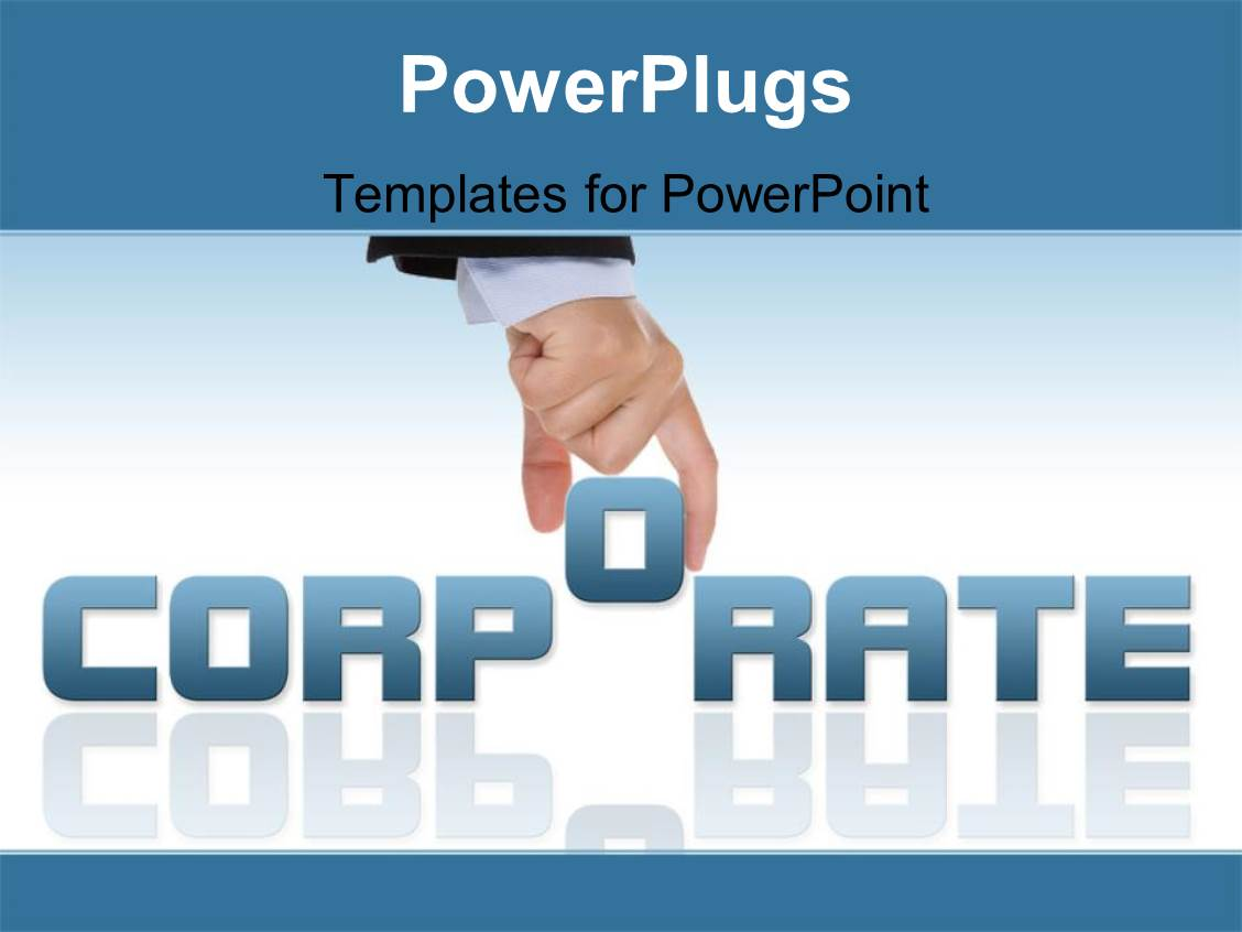 PowerPoint Template Hand completing corporate word on white – Corporate Word Templates