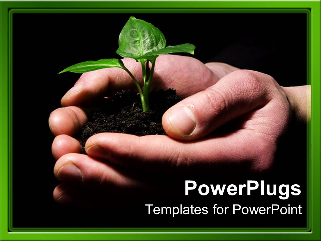 Soil powerpoint templates crystalgraphics a slide deck featuring hands holding sprouting plant in soil on black background template size toneelgroepblik Image collections