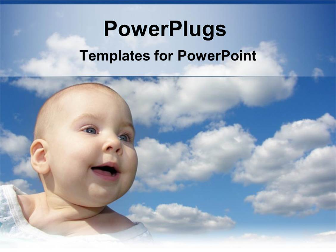 PowerPoint Template Displaying Happy Baby Smiling Under Blue Sky with White Clouds