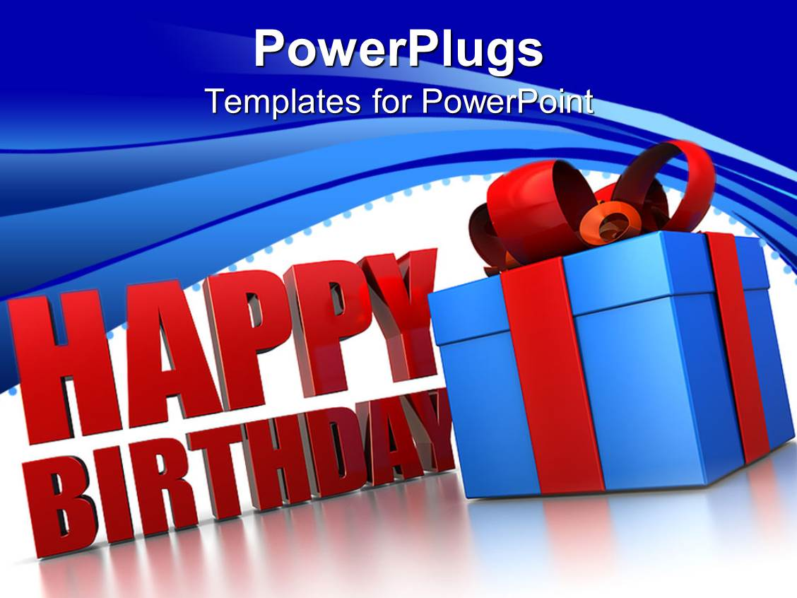 powerpoint template happy birthday sign next to blue wrapped gift box 15649. Black Bedroom Furniture Sets. Home Design Ideas