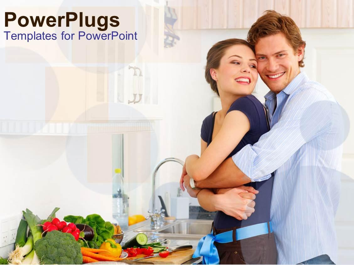 Powerpoint template happy couple hugging in kitchen vegetables powerpoint template displaying happy couple hugging in kitchen vegetables on counter healthy eating toneelgroepblik Gallery