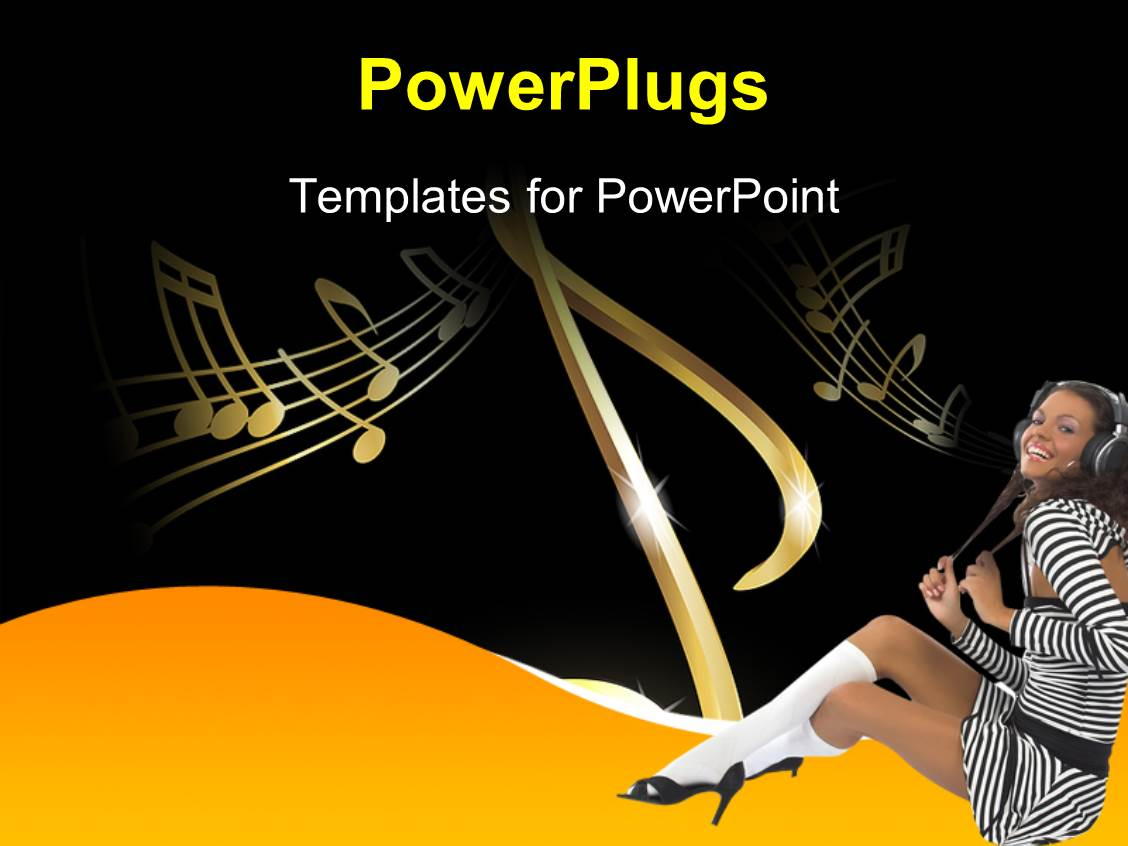 PowerPoint Template Displaying a Happy Girl because of Music