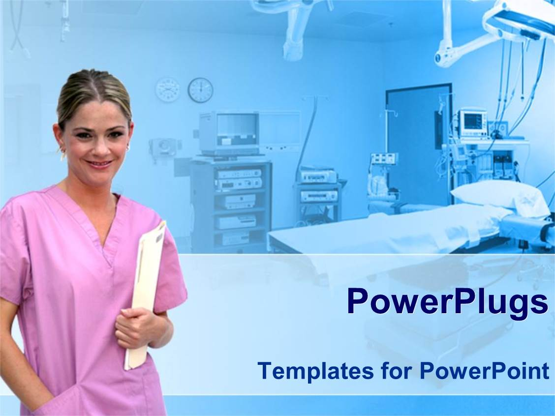powerpoint template healthcare theme with smiling nurse