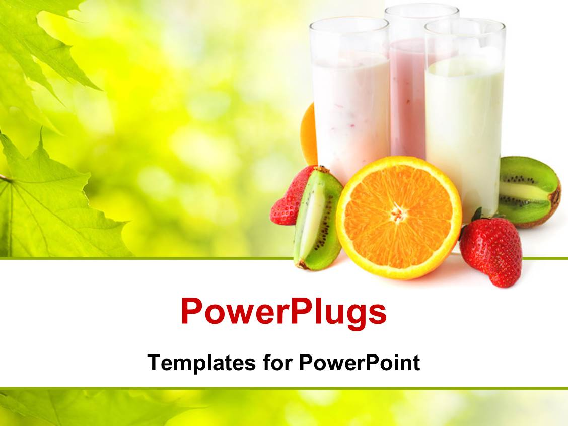 powerpoint template healthy eating concept with three