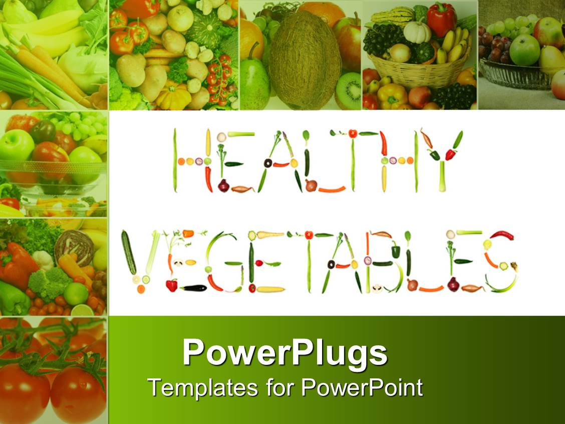 Powerpoint template healthy vegetables formed of fresh fruits and powerpoint template displaying healthy vegetables formed of fresh fruits and vegetables with collage of eight depictions toneelgroepblik Choice Image