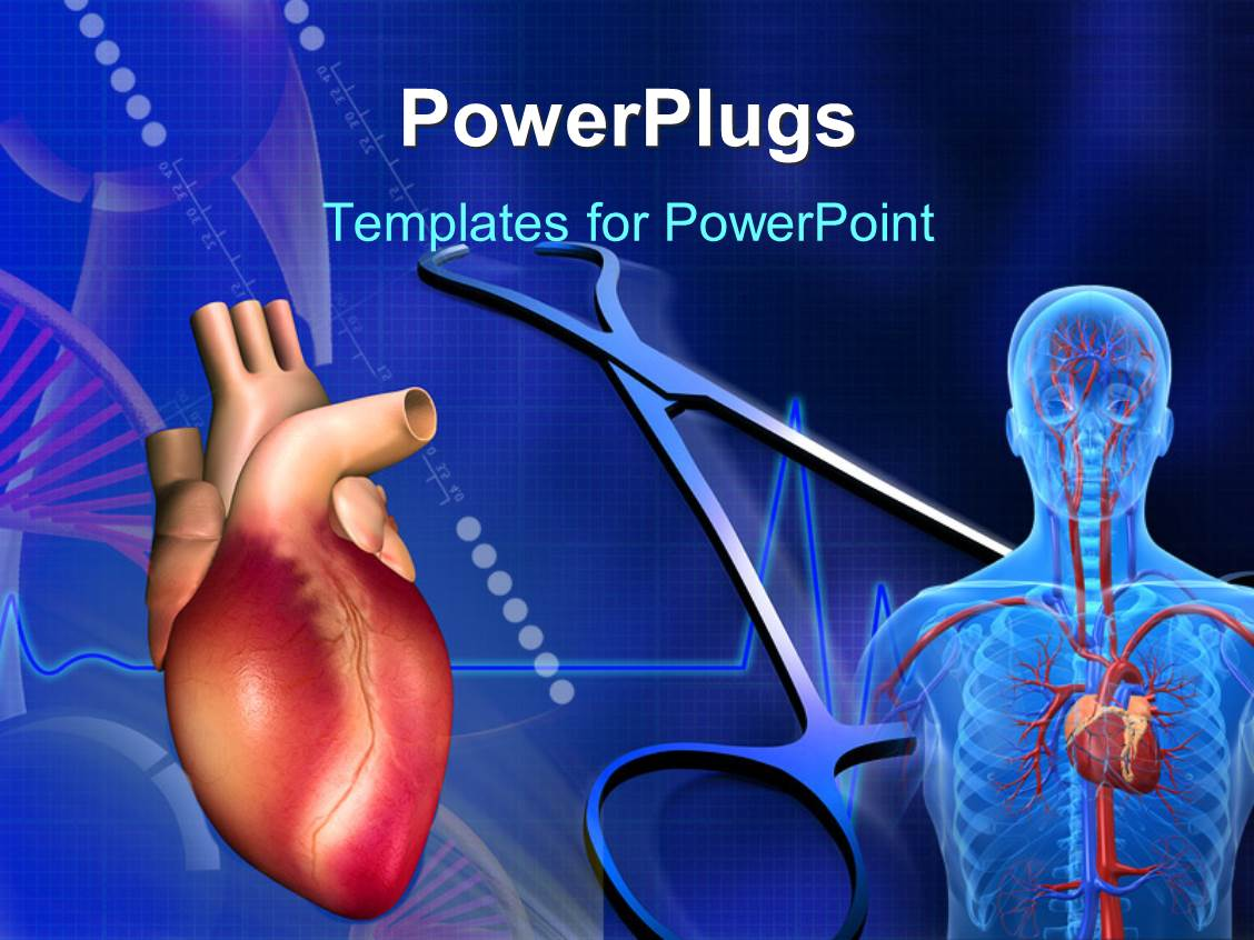 cardiovascular powerpoint template free - powerpoint template heart cardiogram pulse and scan