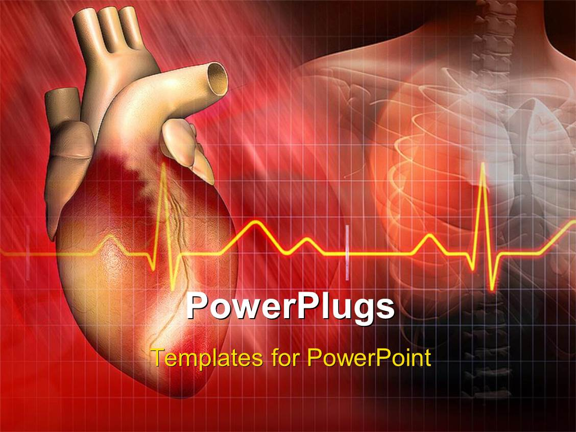 powerpoint template heart and ecg rays with human