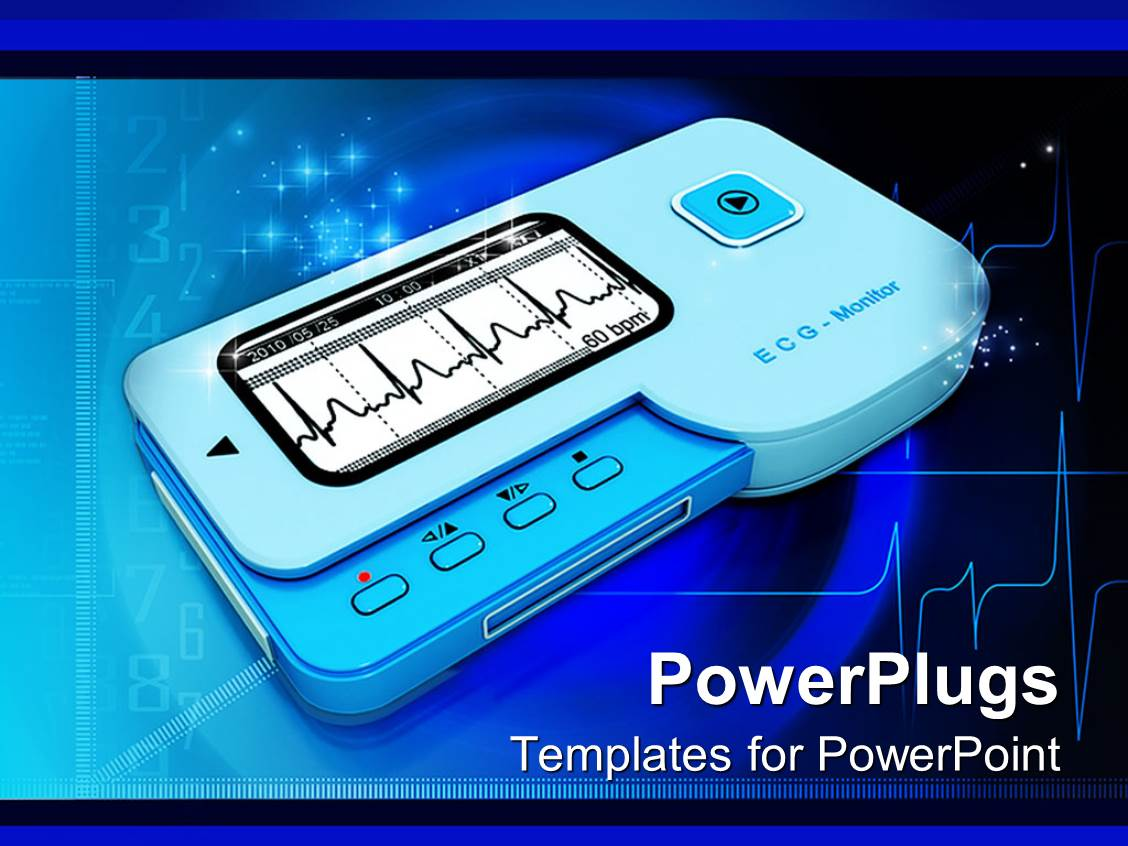 powerpoint template: heart rhythm or ecg monitor with pulse in, Powerpoint templates