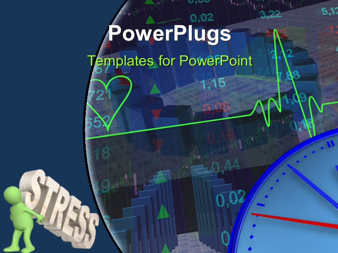 PowerPoint Template Displaying a Heartbeat Line with a Number of Stock Market Related Stuff