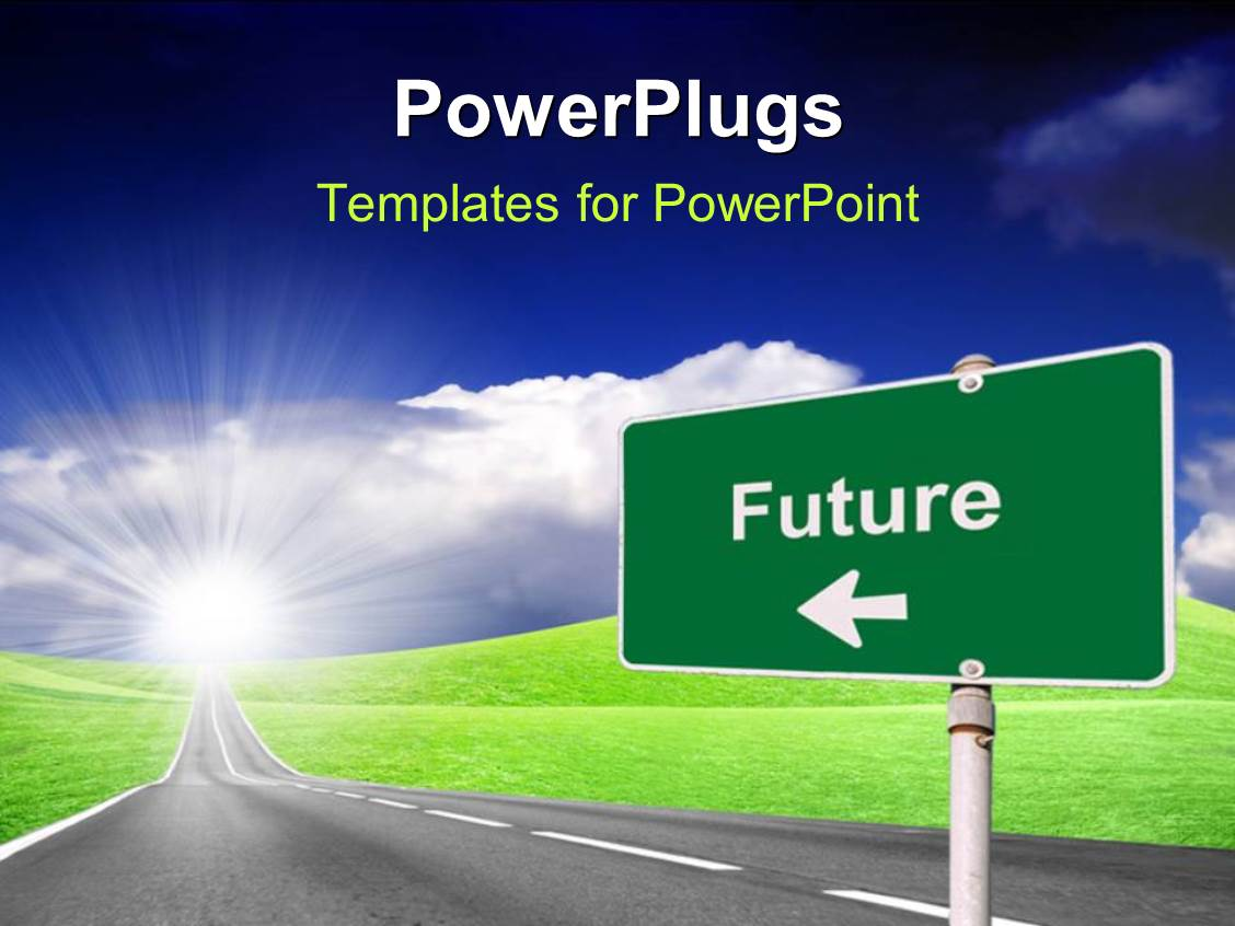 Powerpoint template highway with road sign pointing to for Power plugs powerpoint templates