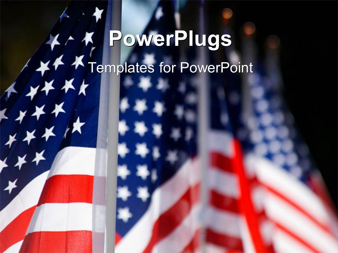 powerpoint template hoisted american flags lines up for military