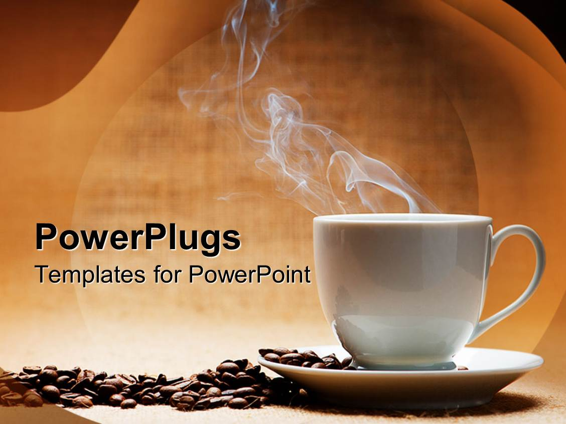 powerpoint template a hot white cup of coffee with beans on the side and brown background 7549. Black Bedroom Furniture Sets. Home Design Ideas