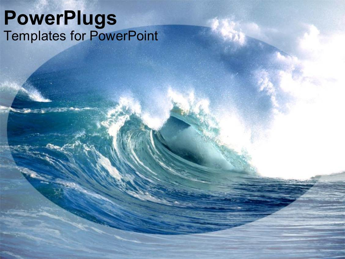 powerpoint template a huge blue ocean wave under a cloudy