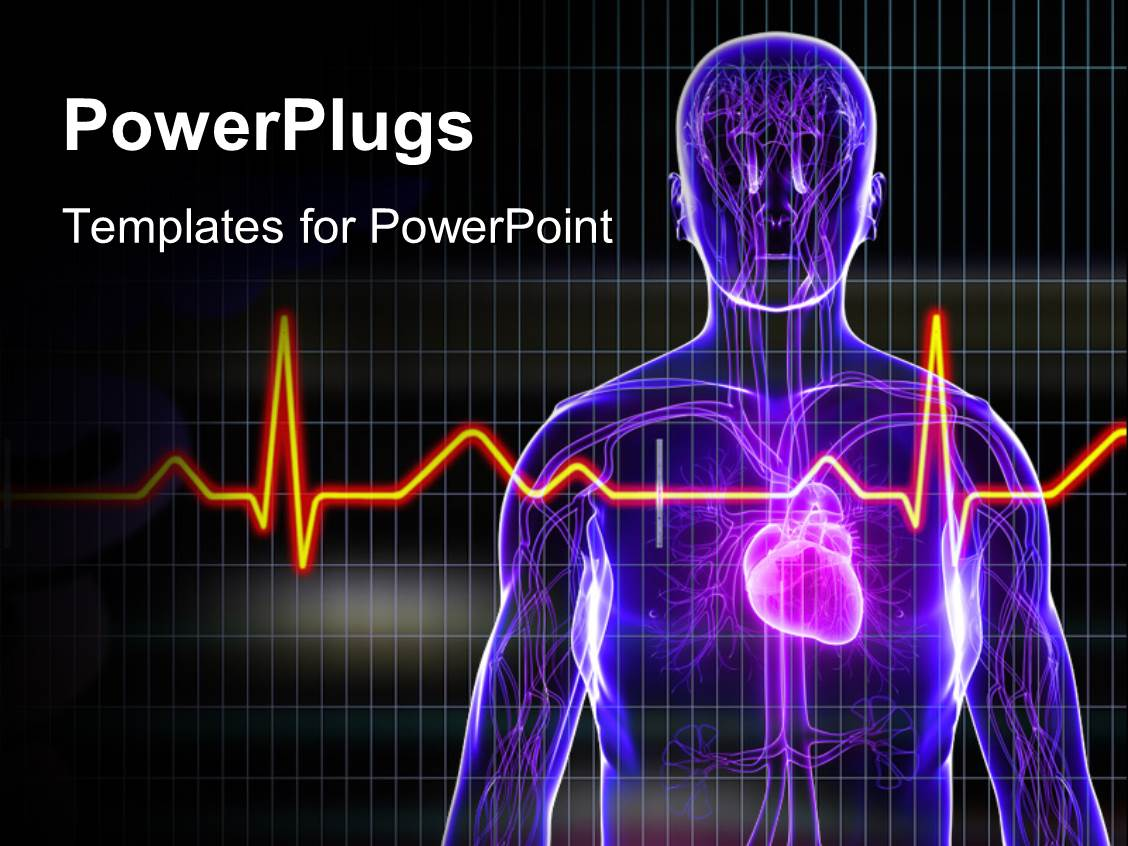 Powerpoint template human anatomy with heart and ecg rays for Anatomy ppt templates free download