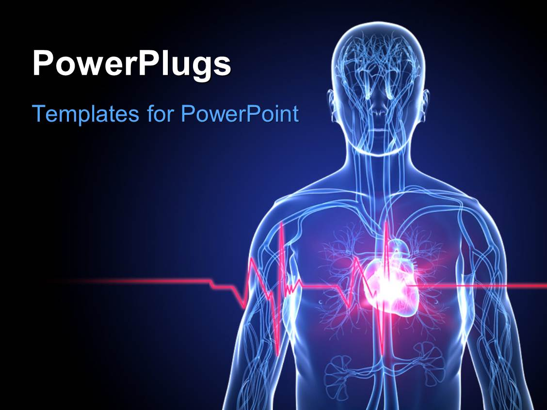 powerpoint template: a human anatomy with heartbeat/heart attack, Modern powerpoint