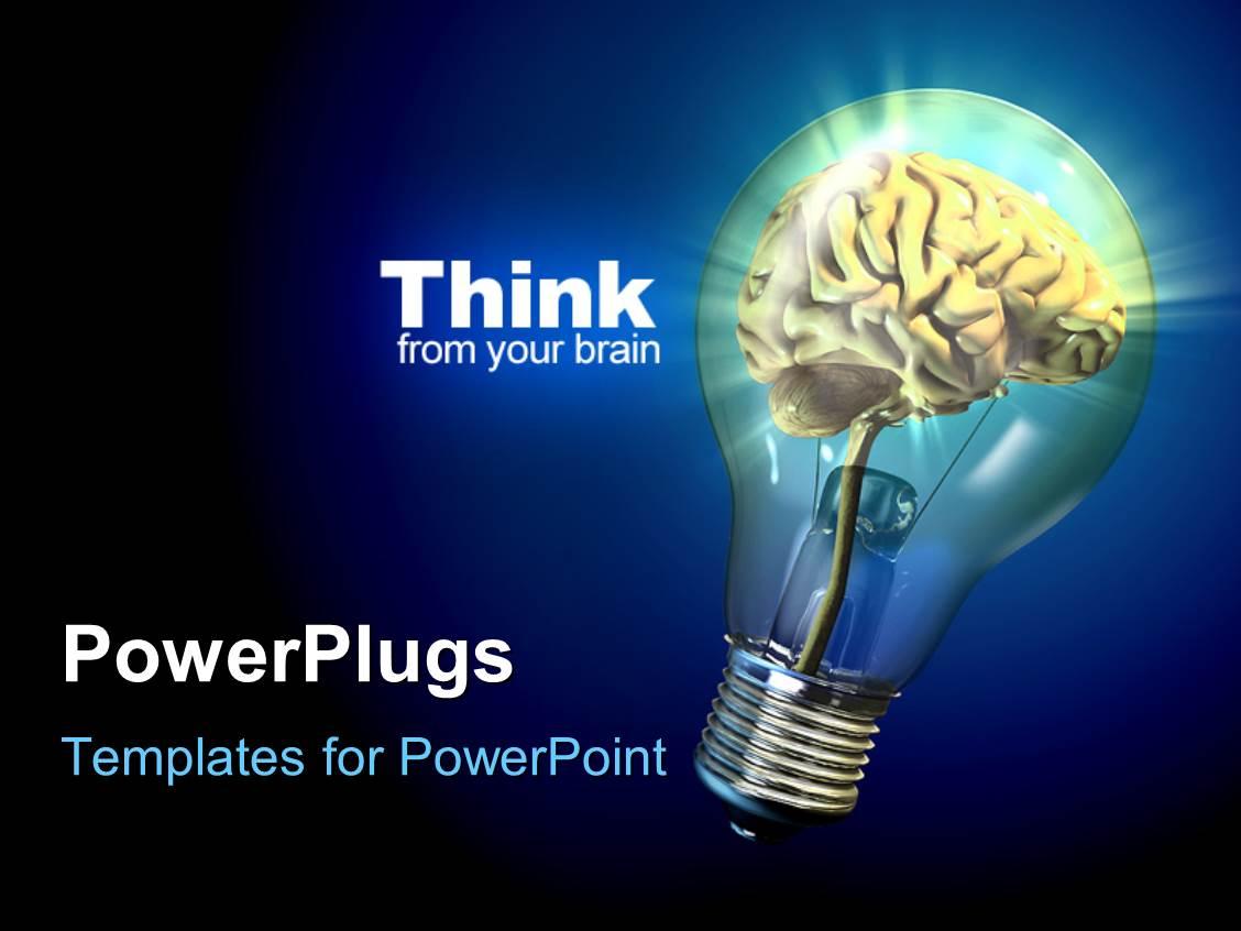 PowerPoint Template Human brain inside a glowing electrical bulb – Brain Powerpoint Template