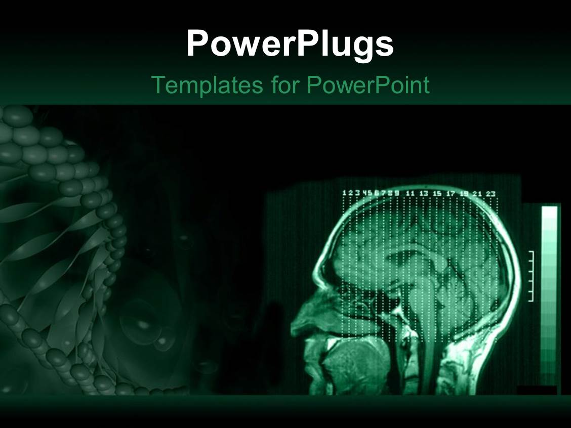 Powerpoint template a human brain mri with greenish background powerpoint template displaying a human brain mri with greenish background and place for text pronofoot35fo Gallery