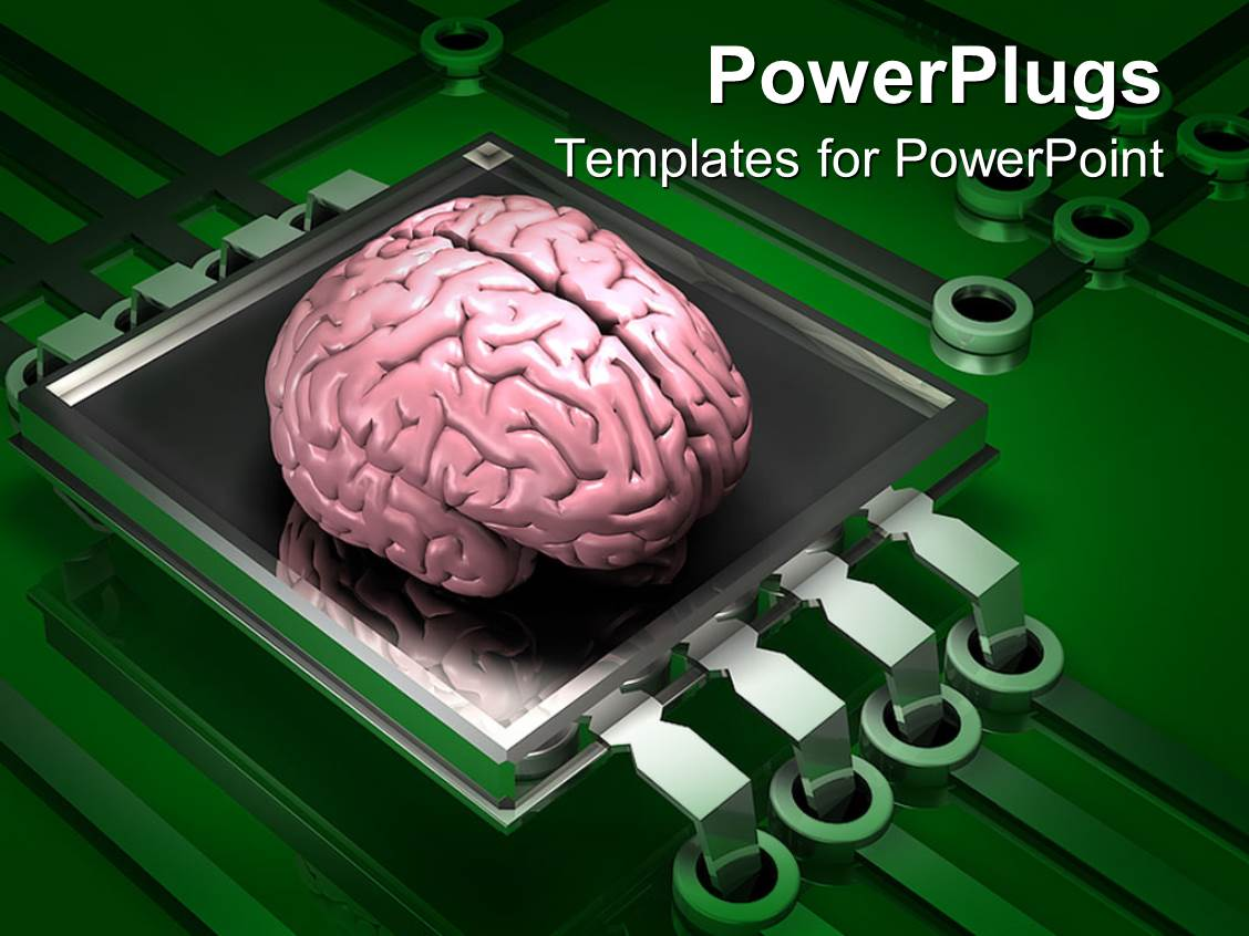 Electronics powerpoint templates crystalgraphics powerplugs powerpoint template with a human brain on the top of microchip and electronic circuit toneelgroepblik Image collections