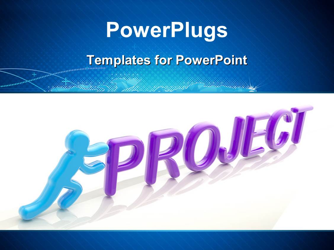 PowerPoint Template: Human figure pushing the word project uphill ...