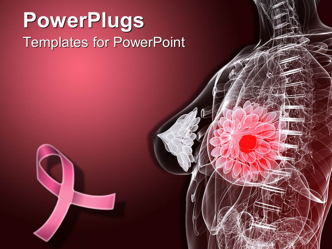 Powerpoint template imaginative female anatomy depicting for Breast cancer ppt template