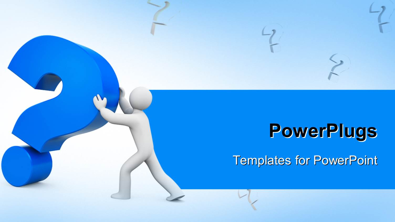 powerpoint template 3d man pushing large blue question