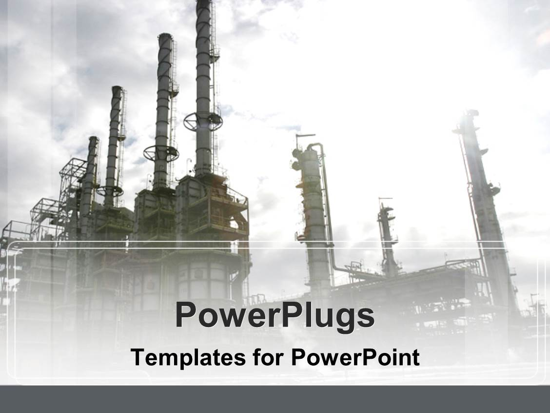 powerpoint template: industrial depiction of oil industry plant on, Presentation templates
