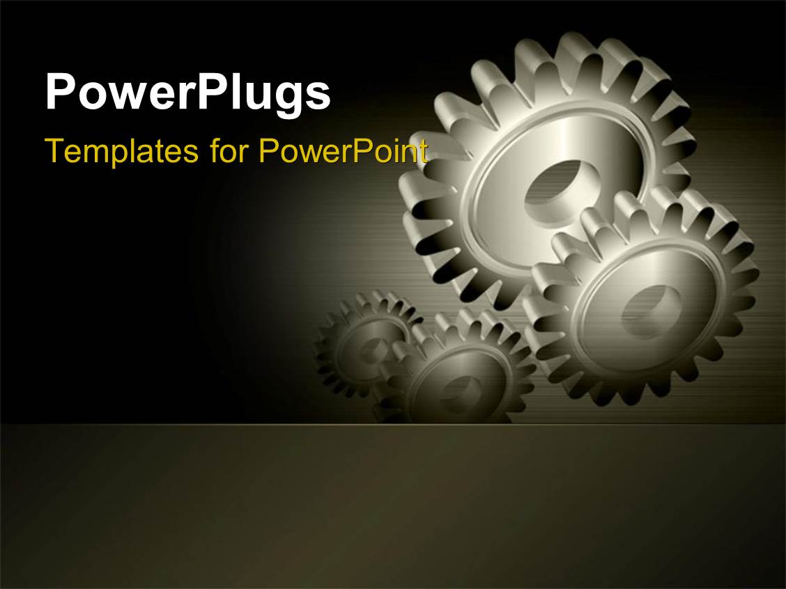 Powerpoint template industrial gears over steel grey for Power plugs powerpoint templates
