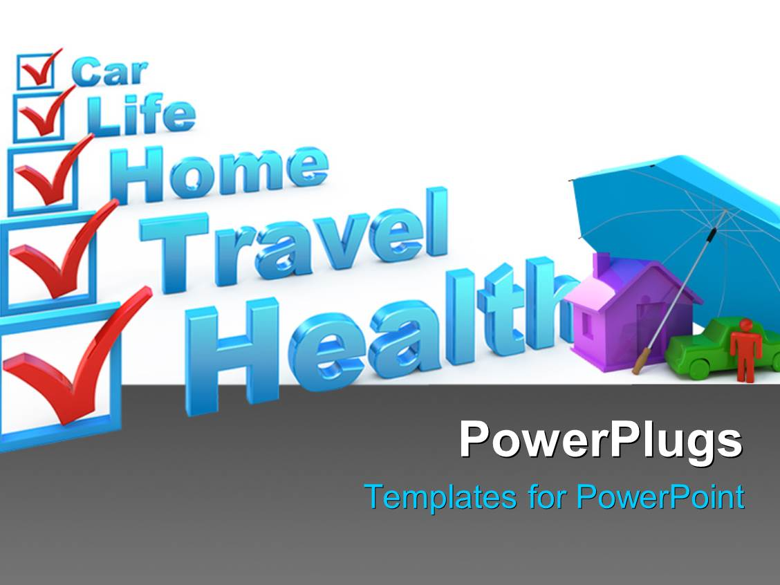 Insurance powerpoint templates crystalgraphics powerplugs powerpoint template with insurance concept with a check list of various insurances as health toneelgroepblik Choice Image
