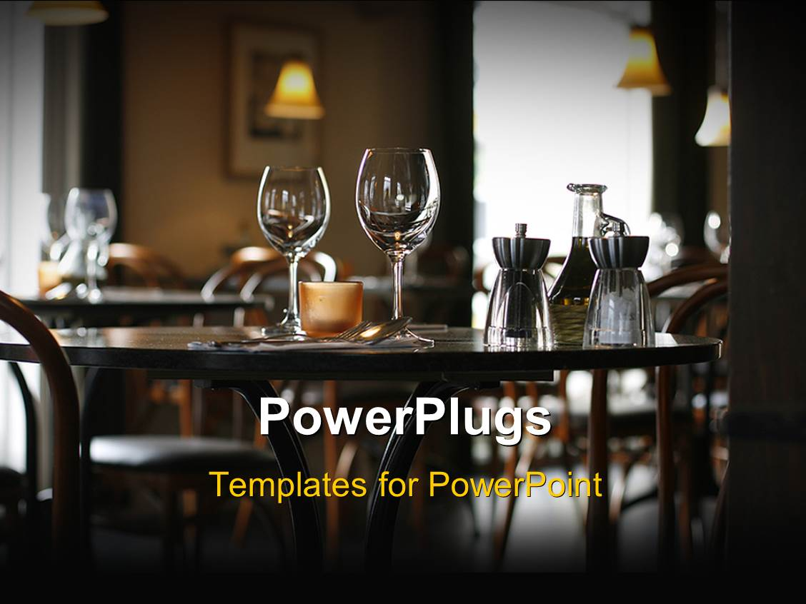 Restaurant powerpoint templates crystalgraphics colorful presentation theme having interior of a cozy restaurant focusing on a ready table for two template size toneelgroepblik Images