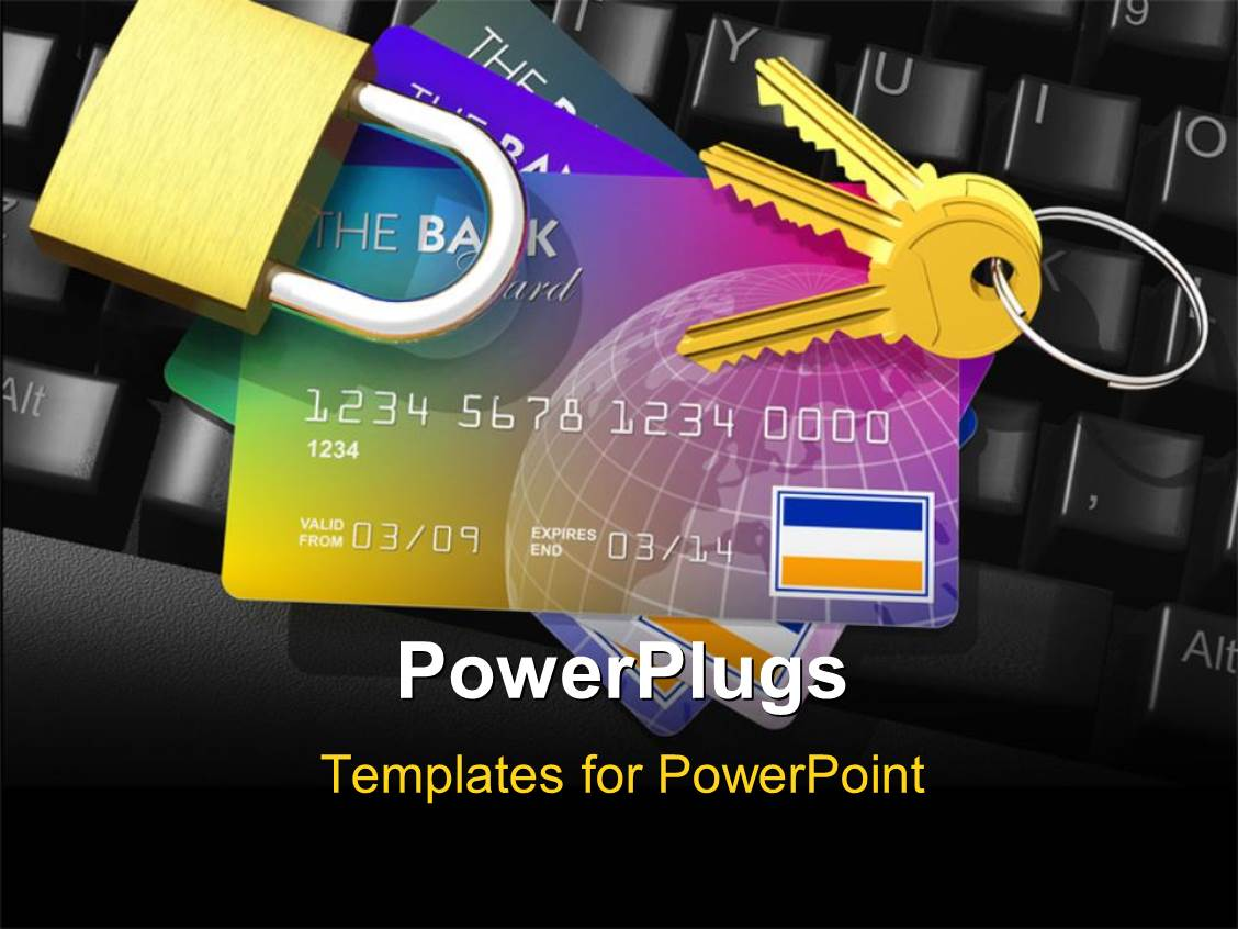 Powerpoint template internet banking security depiction with powerpoint template displaying internet banking security depiction with credit cards key and padlock on computer toneelgroepblik Image collections