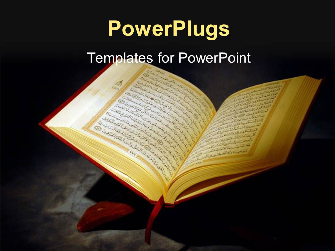 powerpoint template: islamic holy quran depiction with arabic text, Modern powerpoint