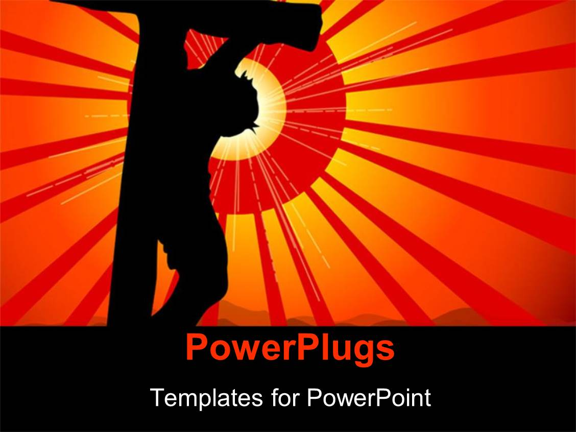 Powerpoint template jesus being crucified with sun in the for Power plugs powerpoint templates